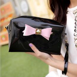 Wholesale Necessaire Makeup - Wholesale- PVC Luxury Bow Vanity Women Cosmetic Bags Cases Famous Brand Functional Makeup Bag Pouch Necessaire Women Organizer Bag