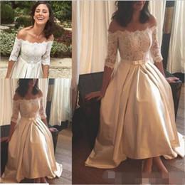 Wholesale Tea Length Chiffon Pleated Skirt - Half Lace Sleeve Ivory Satin Wedding Dresses Short 2017 Elegant Off Shoulder Bow Boho Bridal Wedding Gowns Tea Length Custom Made
