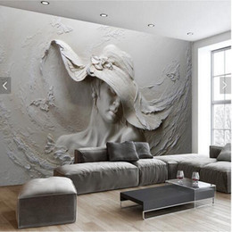 Wholesale Oil House - Custom Wallpaper 3D Stereoscopic Embossed Gray Beauty Oil Painting Modern Abstract Art Wall Mural Living Room Bedroom Wallpaper