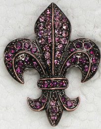 Wholesale Engagement Signs - Wholesale Fashion Brooch Rhinestone Fleur-De-Lis sign Pin brooches in 10 colors C101323
