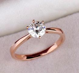 Wholesale High Quality Cz Wedding Rings - High quality elegant 1.2ct rose gold Plated large CZ diamond rings 6 prong bridal wedding Ring Women wholesale
