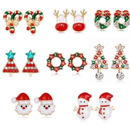 Wholesale Deer Earring - New Arrival Xmas Fashion Earrings Christmas Stud Vintage Colorful Deer Santa Claus Tree Snowman Earrings Gift for Yourself Earrings