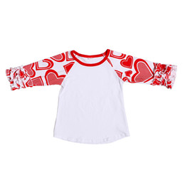 Wholesale Wholesale School Shirts - Valentine's Ruffled Raglan Baby Girls T-shirt Cotton Autumn School Girls Clothes Icing Style Shirt Heart Valentine Girls Tees