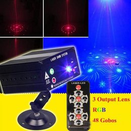 Wholesale Free Laser Patterns - 3 Lens 48 Patterns Mixing Laser Projector Stage Lighting Effect Blue LED Stage Lights Show Disco DJ Party Lighting free shipping