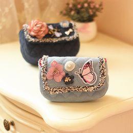 Wholesale Cute Denim Bags - Designer Butterfly Flower Toddler Purse Kid Messenger bag Baby Bags Child Cute Kids Purse Denim crossbody Bag Fashion Girl Gift A7109