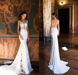 Wholesale Chiffon Beach Wedding Trumpet - Milla Nova Mermaid Wedding Dresses 2017 Sexy Sheer Neck Open Back Full Lace Wedding Dress Beach Bridal Gowns