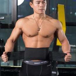 Wholesale Mens Warm Wraps - Wholesale- Mens Adjustable Waist Trimmer Belt Sweat Weight Loss Workout Enhancer Wide Belt Stomach Body Wrap Protecting Warm Stretchy Waist
