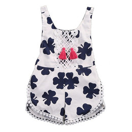 Wholesale Girl Holiday Outfits - Flora Baby Girls' Jumpsuits Rompers Clover Strawberry Ball Lace Tassels Sleeveless Shorts Princess Summer Holiday Kids Outfits Clothing