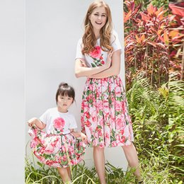 Wholesale Dress Hat Set Girls - Mother and Daughter Clothes Flower Girls Dresses Floral Tshirt and Hat 3 Pieces Sets Bohemia Style Mom Daughter Matching Dresses
