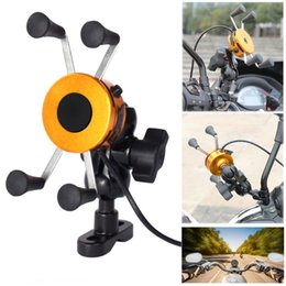 Wholesale Mobile Phone Mount Motorcycle - X Type DIY Universal Mobile Cell Phone Stand Holder Motorcycle Handlebar Mount Cradle USB Charger For iPhone Android 3.5 -6 '' Alu Alloy