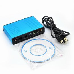 Wholesale External Blue - Wholesale Blue 6 Channel External Sound Card 5.1 Surround Sound USB 2.0 External Optical S PDIF Audio Sound Card Adapter for PC Laptop