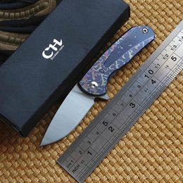 Wholesale Small Bore - CH Mini small blue moon D2 blade ball bearing flipper folding knife Titanium outdoor camping hunting pocket fruit kitchen knives EDC tool