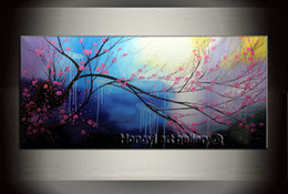 Wholesale Large Wall Art Contemporary Landscape - Large Landscape Contemporary Cherry Blossom Painting 100% Handmade Wall Art Décor Abstract Art Feng Shui Oil Painting on Canvas Home Decor