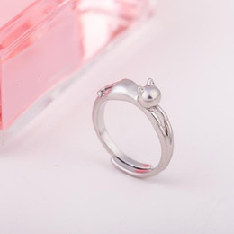 Wholesale Wholesale Cat Female Ring - Wholesale- 2017 New Design Plated Cat Kitten Opening Ring Female Fashion Accessories Cute Vintage Jewelry Silver Wholesale Gifts for Lover