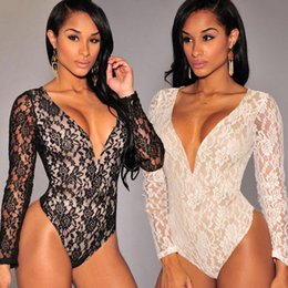 Wholesale Ropa Interior Hot Mujer - Hot Romantic Lace Bodysuits Sexy Underwear Women Ropa Interior Mujer Halterneck Erotica Tights Hollow White Black Lingerie