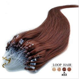 Wholesale Auburn Micro Loop Hair Extensions - 5a Malaysain Human 14-24'' Micro Loop Hair Eextensions 1g s 100g Straight Extensions 33# dark auburn micro rings Loop Hair Extensions