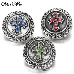 Wholesale Antique Sterling Charms - Wholesale- 3PCS lot Mrs Win Snap jewelry Buttons Metal Cross Snap Antique Silver Lucky Faith buttons for 18MM Snap bracelet