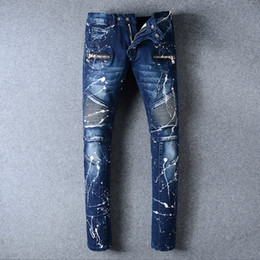 Wholesale Bind Fly - 2017 men painting jeans ripped jean Bound Feet Pants Fashion Designer Slim Motorcycle Moto Biker Causal Mens Denim Pants Hip Hop Men Jeans