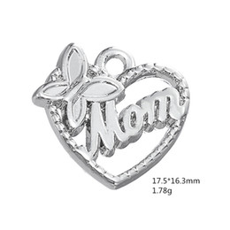 Wholesale Hollow Butterfly Charms - Personalized Design Silver Plated Znic Alloy Butterfly MOM Hollow Heart Charms For Mother Gift Jewelry