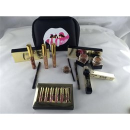 Wholesale Korean Bag Fashion - Kylie Gift Box Golden Box Gloss Suits Makeup Bag Birthday Collection Cosmetics Birthday Bundle Bronze Kyliner Kylie Jenner Holiday Kit