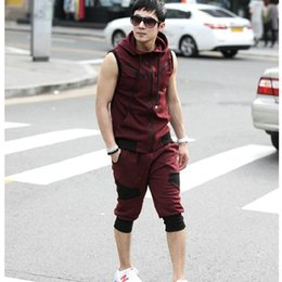 Wholesale Men Sleeveless Sweaters - Wholesale- sport suits hoodie jacket matching jogger pants outdoor sportswear Sleeveless Sweater + Cropped Trousers men Tracksuit