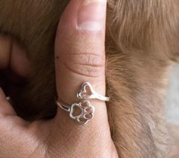 """Wholesale Jewelry Owner - """"Always By My Heart """" Adjustable Ring Footprints Heart Jewelry for Dog Owners"""