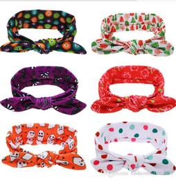 Wholesale Kids Hairband For Christmas - Christmas Turban Rabbit Ears Hairband Lovely Bow Knot Headband Halloween Headwrap Hair Accessories for babys kids S669