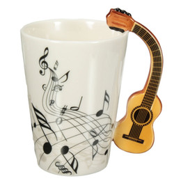 Wholesale Novelty Guitar Gifts - Novelty Styles Music Note Guitar Ceramic Cup Personality Milk Juice Lemon Mug Coffee Tea Cup Home Office Drinkware Unique Gift