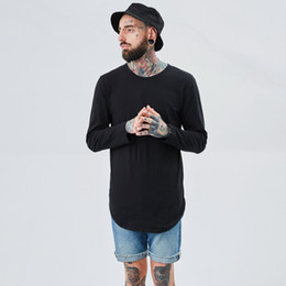 Wholesale Solid White Shirt For Men - 2017 Streetwear t shir Fashion hip hop t shirts for men extended longline justin bieber Tops loose fit Solid Color off white tshirt TX144 RF
