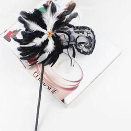 Wholesale Translucent Masks - Beauty Face Mask Gauze Feather Side Translucent Black Venetian Masquerade Masks Pure Handmade Masquerade Masks On Stick