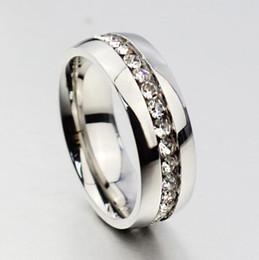 30pcs argento Comfort Fit strass Zircone in acciaio inox Anelli di nozze Cerchio completo con lotti di gioielli all'ingrosso CZ da