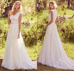 Wholesale Silver Beaded Wedding Belts - Newest Elegant Lace Appliques Tulle Modest Wedding Dresses With Cap Sleeves V Neck Buttons Back Beaded Belt Country Bohemian Wedding Gowns
