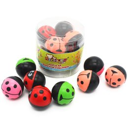 Wholesale Vinyl Balls Wholesale - Kid Toys Fun Elasticity Bouncing Balls Lady Beetles Pattern For Boys & Girls 100% Safe Toy 8pcs 1.2 Inch Gender Neutral Bauble ZJ-006