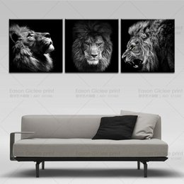 Wholesale modern abstract prints - 3 Panels Lion king canvas art modern abstract painting wall pictures for living room decoration pictures canvas print no frame