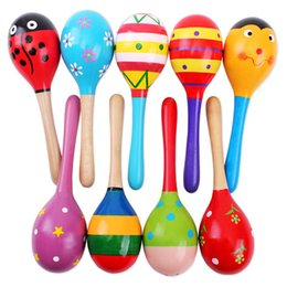Wholesale kids percussion instrument - Colorful Kids Wooden Ball Rattle Toy Sand Hammer Rattle Learning Musical Instrument Percussion for Baby 0-12 Month