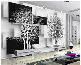 Wholesale Black White Vintage Wallpaper - Free shipping High Quality Custom 3d wallpaper murals wall paper Simple black and white tree 3 d TV setting wall decor livingroom wallpaper