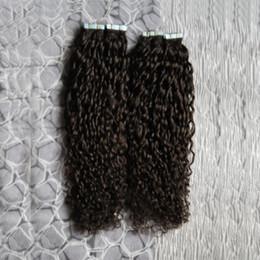 estensioni kinky dei capelli umani mongoli Sconti Nastro riccio mongolo riccio in estensioni dei capelli umani 200g 80 pezzi capelli ricci crespi afro crespi estensioni dei capelli di trama