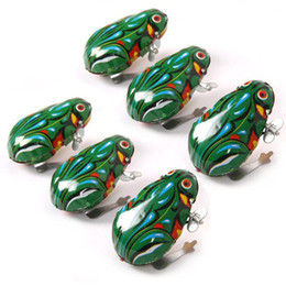 Wholesale Old Vintage Wholesale - Kids Classic Tin Wind Up Clockwork Toys Jumping Frog Vintage Toy For Children Boys Educational Free Shipping