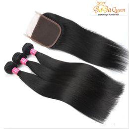 Wholesale Cheap Unprocessed Brazilian Hair Straight - Brazilian Straight Hair Bundles With 4x4 Closure Unprocessed Brazilian virgin Hair Straight With Lace Closure Cheap Human Hair Extensions
