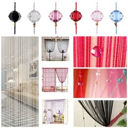 Wholesale Door Window Curtains - Tassel Curtain Crystal Beads Tassel Silk String Curtain Window Door Divider Sheer Curtains Valance Door Windows Panel Curtain