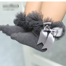 Wholesale Sock Bows - New 2017 7 Color Baby Socks Korean Sweet Girls Lace Bow Stocking Big Bowknot Short Socks Cotton Soft kid's Socks Children Sock A6585
