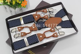 Wholesale Recessionista Clothing - Wholesale-2016 New striped vintage braces leather suspenders Adjustable 6 clip Men's suspenders fashion clothing recessionista