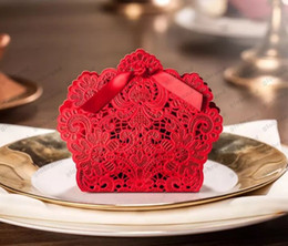 Wholesale Red Laser Cut Paper - Wedding Favor Boxes Laser Cut Favor Wedding Paper Laser Red Candy Tin Containers Chinese Wedding Party Favors GLO