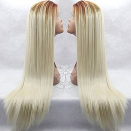 Wholesale Kanekalon Hair Blonde Straight - Fashion Long Ombre Blonde Straight Hair Wig Dark Root Straight Kanekalon Synthetic Natural Ombre Blond Lace Front Wig ForBlack Women