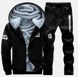 Wholesale Black Velvet Sport Coat - New Winter Plus Velvet Coats Men Hoodies Warm Thicken Slim Fit Sporting Tracksuits Mens Hoodies And Sweatshirts