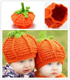 Wholesale Baby Photo Props Knit - Baby Pumpkin Hats Crochet Knitted Toddler Kids Photo Props Caps Infant Costume Winter Warm Hats XMAS Gifts 0-2T PX-H11
