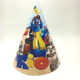 Wholesale Rio Movie - Wholesale-Rio design cartoon printing cone party hats,birthday caps with string*10pcs