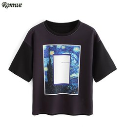 Wholesale T Shirts Wholesale Famous Brands - Wholesale- ROMWE Female 2016 Summer Hot Sale Vogue Tees Famous Brand Black Round Neck Short Sleeve Cheap T-shirt