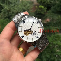 Wholesale Vc Fashion - luxury swiss men automatic mechanical gold skeleton watches famous brand mens wristwatches fashion VC black dial Stainless steel male watch