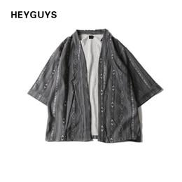 Wholesale Japanese Kimono Shirt - HEYGUYS 2017 new design shirt hip hop black men and women Street skateboard plain printing The Japanese kimono 17603